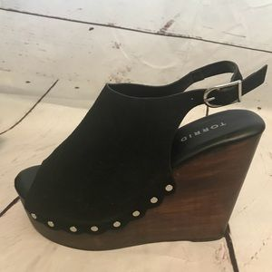 Torrid studded wooden platform wedges